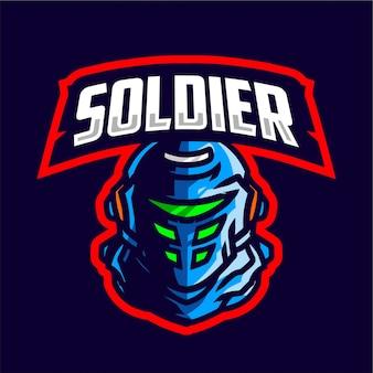 Mascota del soldado logo de juego