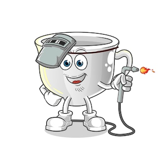 Mascota de soldador de taza. dibujos animados