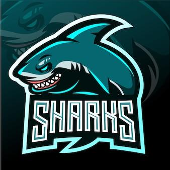 Mascota de tiburón. logotipo de esport
