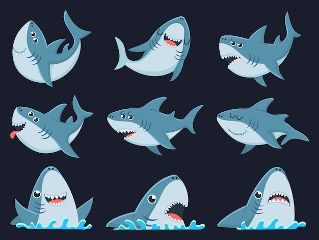 Mascota tiburón oceánico. tiburones miedo animales, mandíbulas sonrientes y natación tiburón conjunto de ilustración de dibujos animados