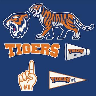 Mascota tigre en colección de set de logotipo de mascota deportiva