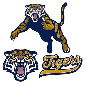 Mascota tigre en estilo logo deportivo