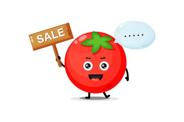 Mascota de tomate lindo con el cartel de ventas
