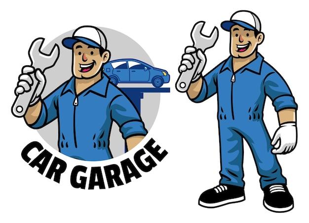 Mascota de trabajador mecánico de coche de dibujos animados