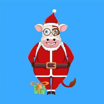 Mascota de la vaca de dibujos animados con traje de santa claus