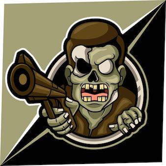 Mascota zombie para logo de deportes y esports.