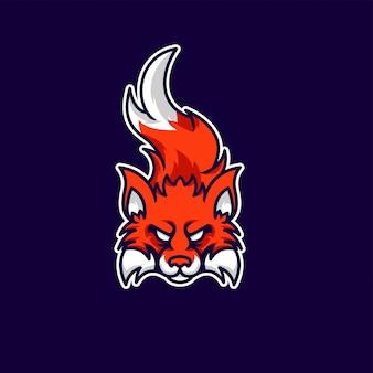 Mascota de zorro y logo de juegos esport