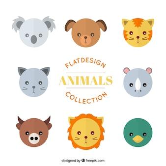 Mascotas y animales salvajes avatares establecen en diseño plano