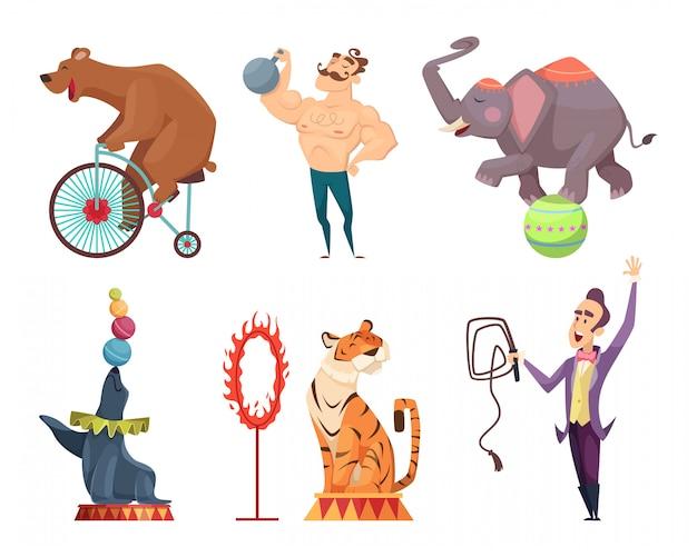 Mascotas de circo, artistas, malabarista y otros personajes de circo