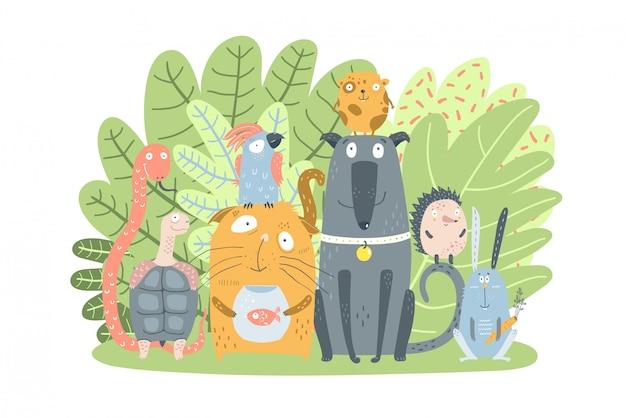 Mascotas domésticas animales con arbusto verde