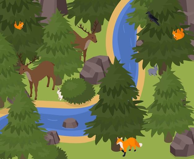Mascotas exóticas en animales salvajes entorno natural ilustración isométrica con renos ardilla zorro conejo liebre