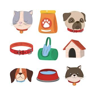 Mascotas, gato perro collar agua casa comida y bolsas conjunto de iconos ilustración de estilo plano