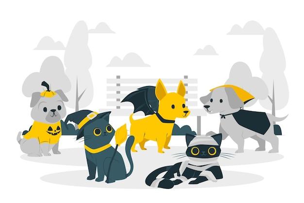 Mascotas con ilustración de concepto de disfraces de halloween