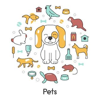 Mascotas línea arte fino vector iconos