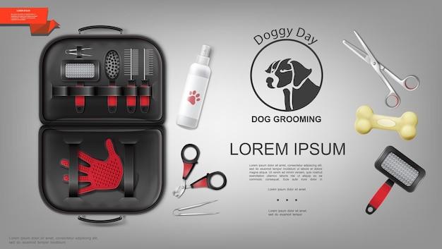 Las mascotas realistas cuidan el concepto colorido con un conjunto de artículos para la preparación del perro, champú, guante, cepillo, peines, tijeras para huesos