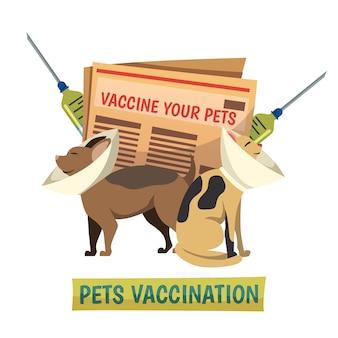 Mascotas vacunación fondo ortogonal composición