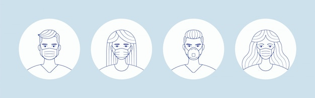 Masculino y femenino en máscara de protección facial médica. avatares de personas