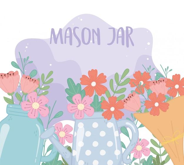 Mason jar bouquet y regadera con flores