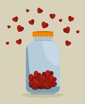 Mason jar con corazones para donación de caridad