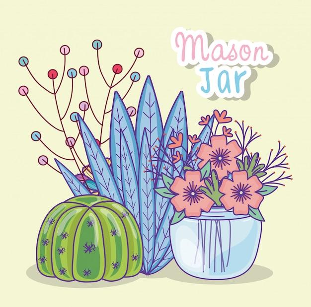 Mason jar flores cactus bayas decoración