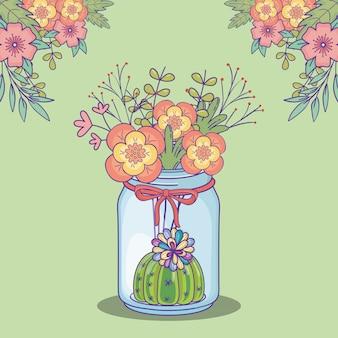 Mason jar flores cactus floral esquina decoración