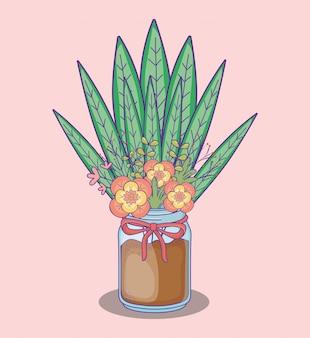 Mason jar flores hojas y arena con decoración de arco