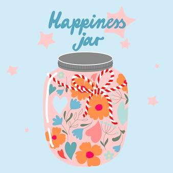 Mason jar con flores. jardín de estilo retro tarro de cristal lleno de flores y corazones. ilustración moderna dibujada a mano. tarro de felicidad y texto de moda.