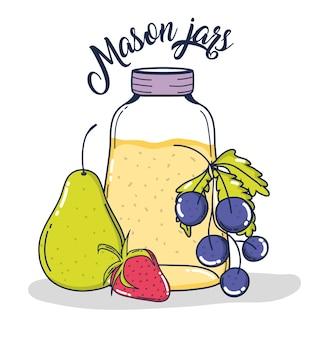 Mason saca jugo con uvas de pera y fresa