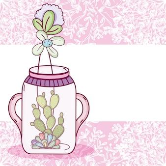 Mason tarro flores crisol tarjeta colorida