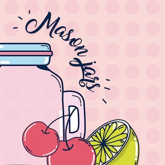 Mason tarros de frutas jugo de dibujos animados