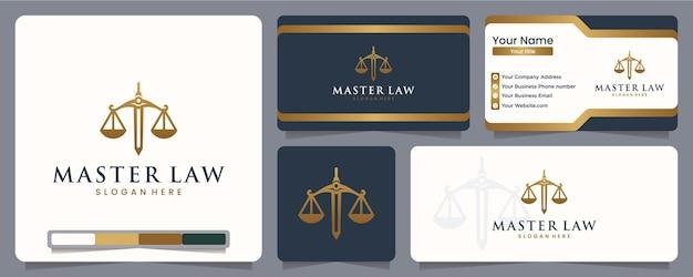 Máster en derecho, bufete de abogados, equilibrio, ciego, igualdad, diseño de logotipos y tarjetas de presentación.
