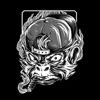 Mastermind monkey black & white illustration