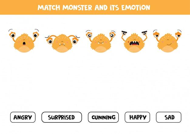 Match monstruo y sus sentimientos. juego para niños.