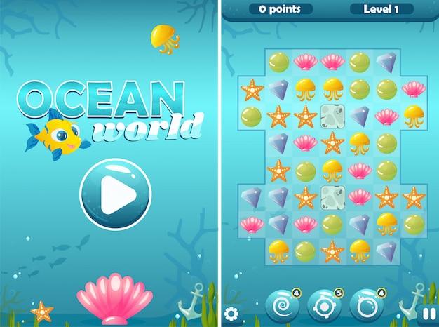 Match three ocean world game con pantalla de inicio y campo
