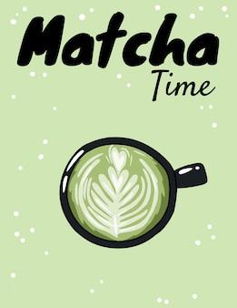 Matcha taza de tiempo de café verde.