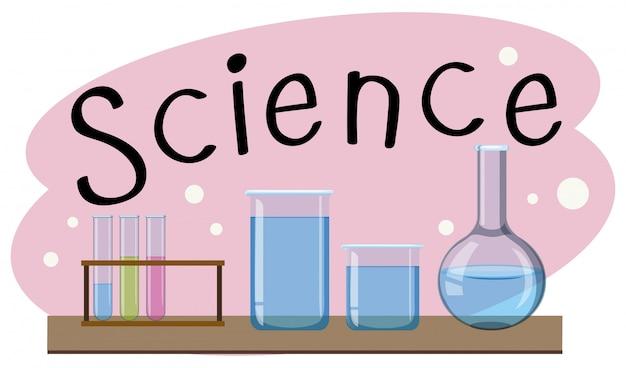 Materia escolar para la ciencia con muchos equipos en el laboratorio