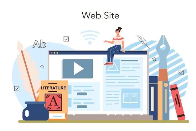 Materia de la escuela de literatura servicio en línea o plataforma de estudio escritor antiguo