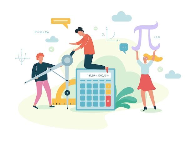 Materia de la escuela de matemáticas. aprender matemáticas, idea de educación
