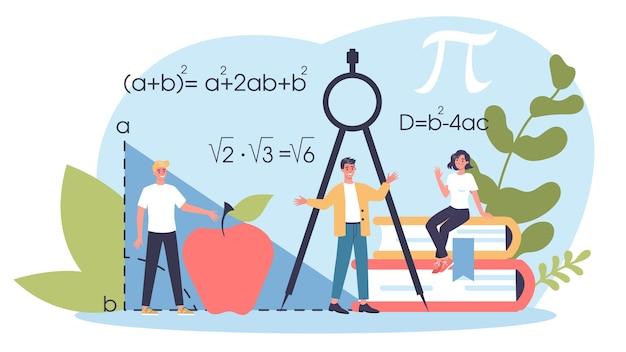 Materia de la escuela de matemáticas. aprendiendo matemáticas, idea de educación y conocimiento. ciencia, tecnología, ingeniería, educación matemática.