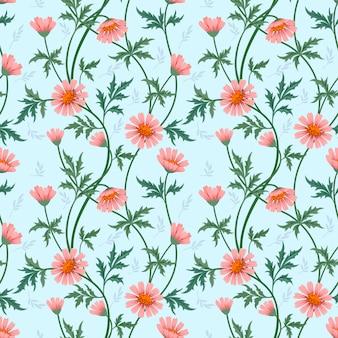 Materia textil inconsútil de la tela del modelo de las flores coloridas.