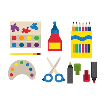 Material escolar ilustración vectorial.