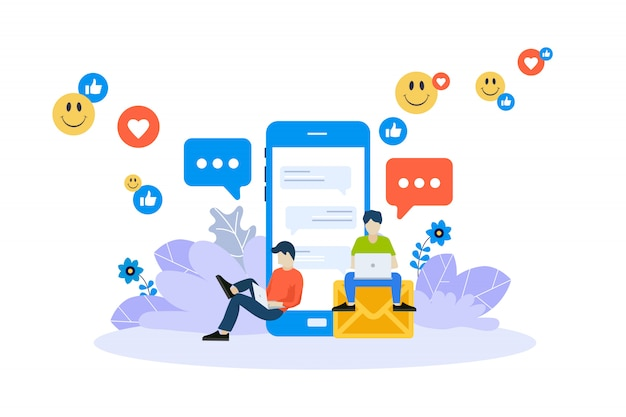 Material de marketing, publicidad online, concepto de redes sociales.