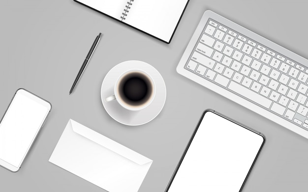 Material de oficina. diferentes cosas de negocios en una mesa