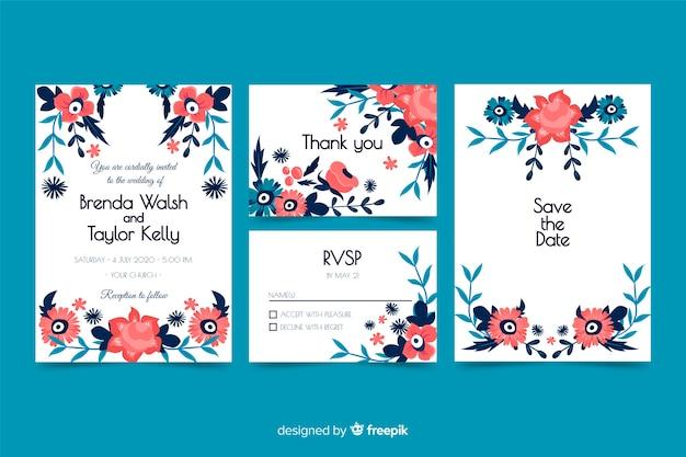 Material de papelería floral de boda en estilo dibujado