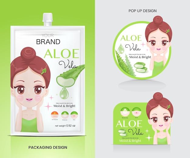Material publicitario para envases de aloe vera para el cuidado de la piel.