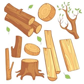 Materiales de madera de dibujos animados