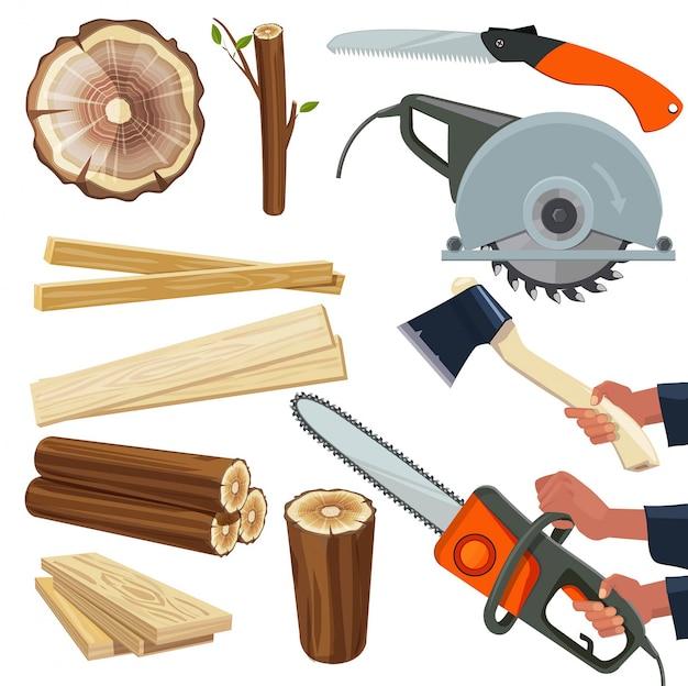 Materiales de madera. producción de madera y equipos de carpintería cortada herramientas de corte silvicultura pila imágenes aisladas