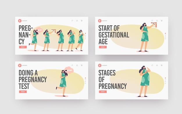 Maternidad, conjunto de plantillas de página de destino de etapas de embarazo femenino. prueba positiva, fecha del calendario, vientre en crecimiento, mujer comiendo y llevando al bebé en la mano, parto. ilustración de vector de gente de dibujos animados