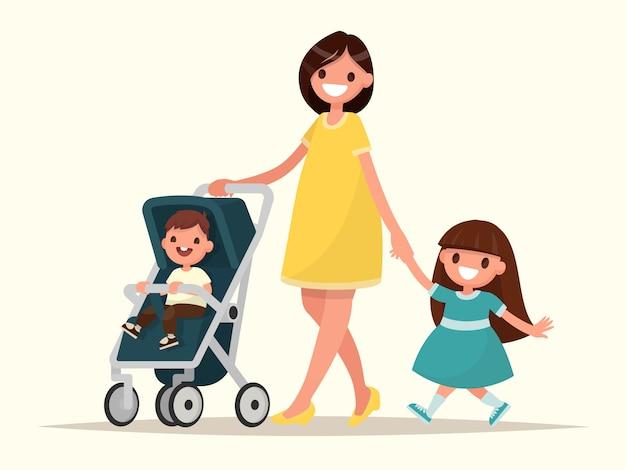 Maternidad. joven madre feliz con su hija y un niño en un cochecito. ilustración