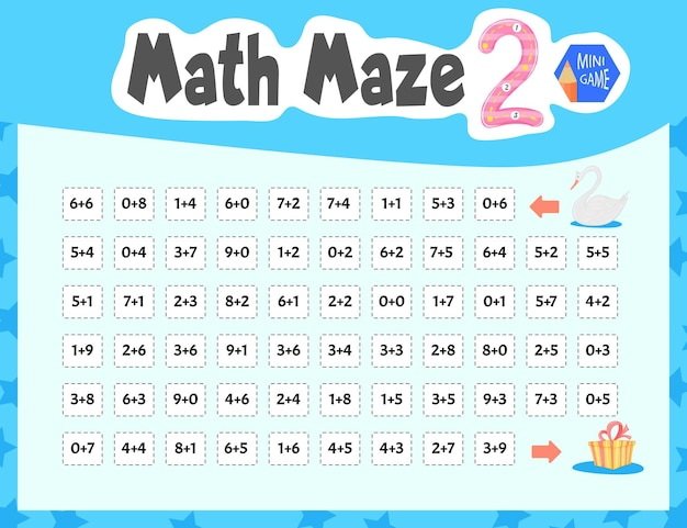 Math maze es un minijuego para niños. estilo de dibujos animados. ilustración vectorial.
